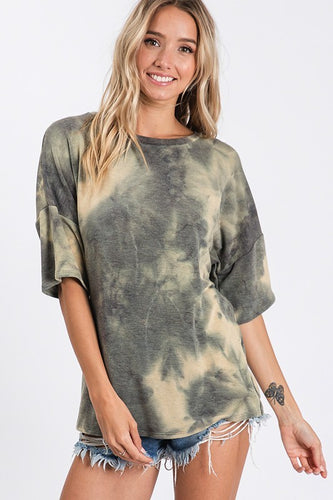 Tie Dye Tunic Top With Criss Cross Back