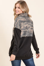 Load image into Gallery viewer, Camo Contrast Cowl Neck Tunic Top CLEARANCE