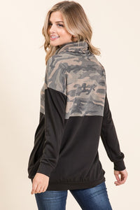 Camo Contrast Cowl Neck Tunic Top CLEARANCE