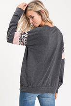 Load image into Gallery viewer, Charcoal Leopard Blush Tunic Top