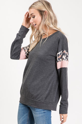 Charcoal Leopard Blush Tunic Top