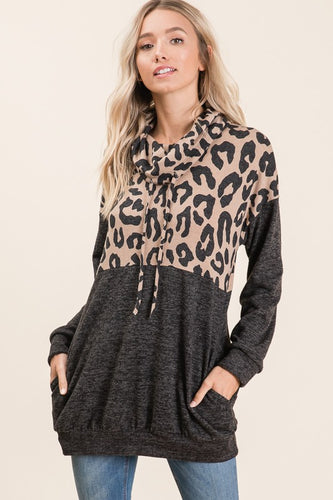 Leopard Cowl Neck Tunic Top