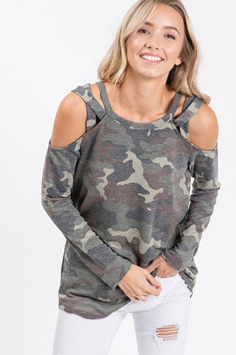Camo Open Shoulder Tunic Top