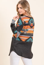 Load image into Gallery viewer, Aztec Contrast Tunic Top