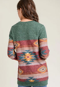 Tribal Hunter Green Top