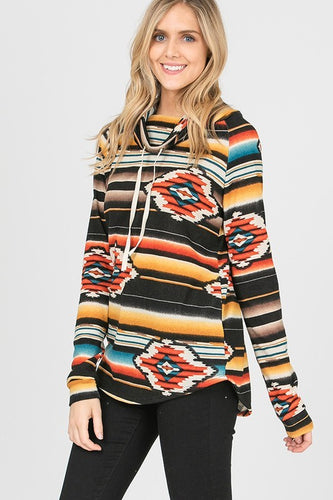 Stripe Aztec Cowl Neck Tunic Top