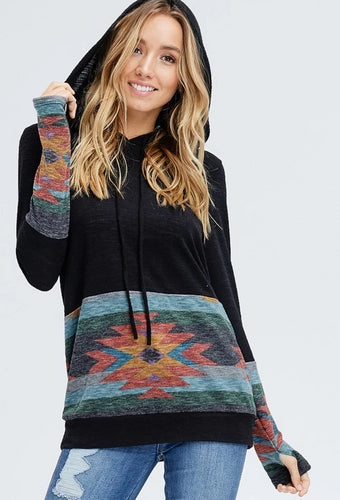 Tribal Hoodie Top in Black