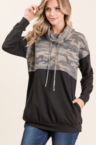 Camo Contrast Cowl Neck Tunic Top