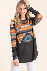 Aztec Contrast Tunic Top