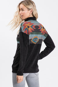 Black Aztec Quarter Zip Tunic Top