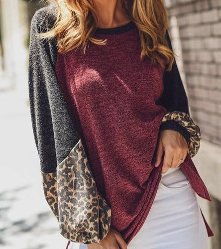 Leopard Burgundy Contrast Sweater CLEARANCE