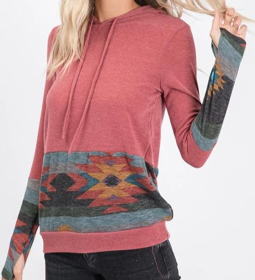 Tribal Hoodie Top in Mauve