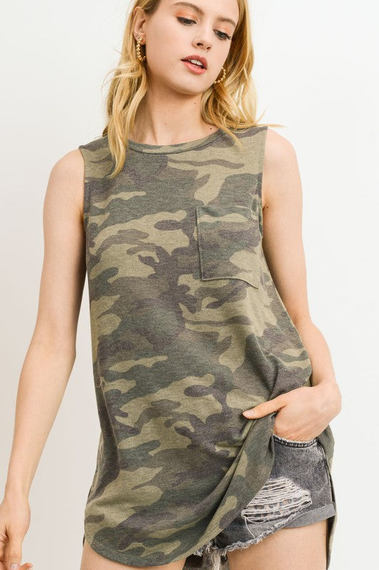 Camo Pocket Sleeveless Top