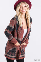 Load image into Gallery viewer, Maroon Aztec Cardigan