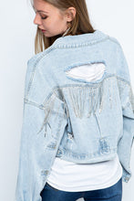 Load image into Gallery viewer, Rhinestone Fringe Cropped Denim Jacket
