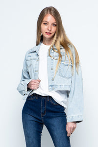 Rhinestone Fringe Cropped Denim Jacket