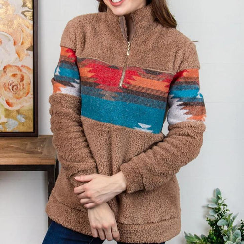 Aztec Quarter Zip Pullover Sweater CLEARANCE