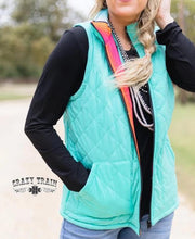 Load image into Gallery viewer, Crazy Train West Town Reversible Vest Serape Turquoise