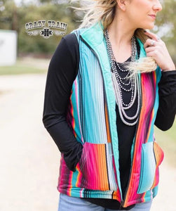 Crazy Train West Town Reversible Vest Serape Turquoise
