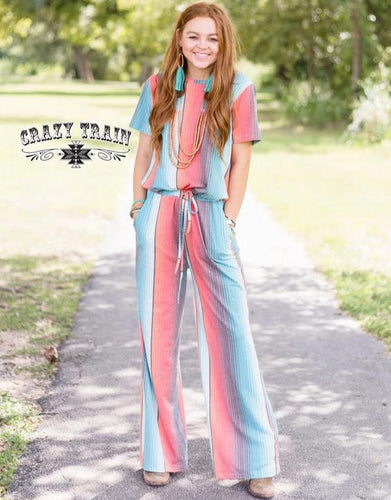 Crazy Train Vaquera Vibes Romper Jumpsuit - Serape