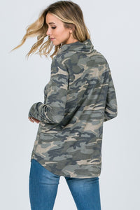 Camo Cowl Neck Tunic Top CLEARANCE