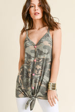 Load image into Gallery viewer, Camo Tied Tank Top