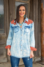 Load image into Gallery viewer, Tooled Leather Acid Wash Button Up Shirt