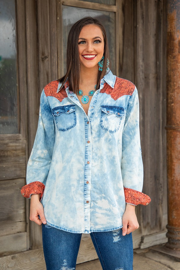 Tooled Leather Acid Wash Button Up Shirt