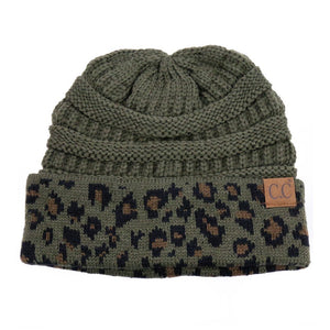 C.C. Thick Slouchy Knit Beanie Cap Hat in Olive Green with Leopard Cuff