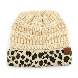 C.C. Thick Slouchy Knit Beanie Cap Hat in Beige with Leopard Cuff