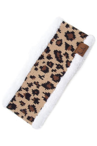 C.C White Leopard Knitted Headwrap with Sherpa Lining Inside