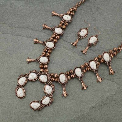 Squash Blossom Burnished Copper & White Statement Necklace Set
