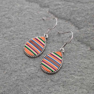 Orange Serape Pattern Teardrop Earrings
