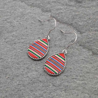 Red Serape Pattern Teardrop Earrings