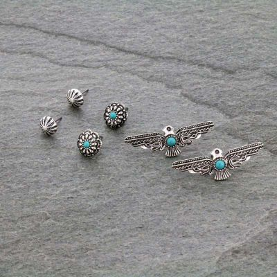 3 Pair Thunderbird Earrings Set