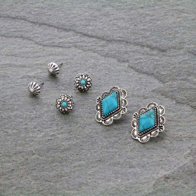 3 Pair Embellished Earrings Set