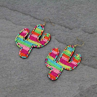 Neon Seed Bead Cactus Earrings