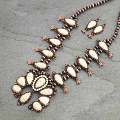 Navajo Pearl Squash Blossom Necklace & Earring Set