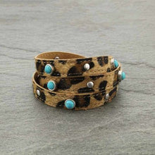 Load image into Gallery viewer, Semi Stone Leopard Wrap Bracelet