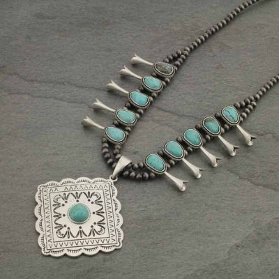 Concho Turquoise Stone Necklace