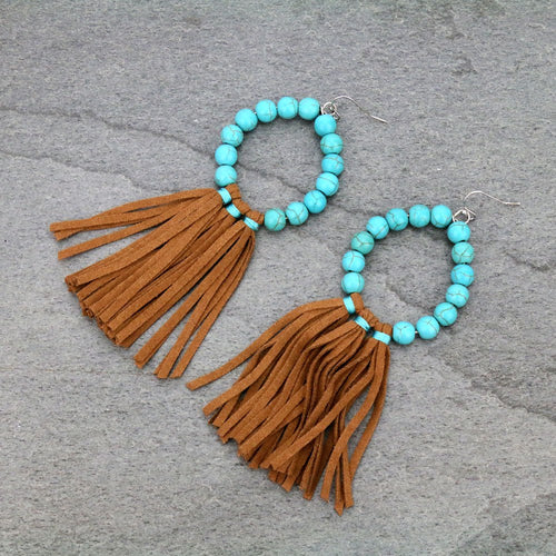 Navajo Pearl Tassel Dangle Earrings