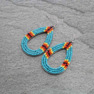 Seed Bead Teardrop Earrings