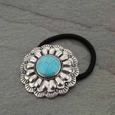 Turquoise Concho Hair Tie