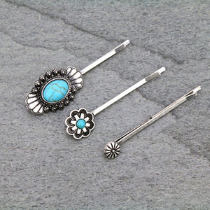 Western Turquoise Bobby Pin Set of 3
