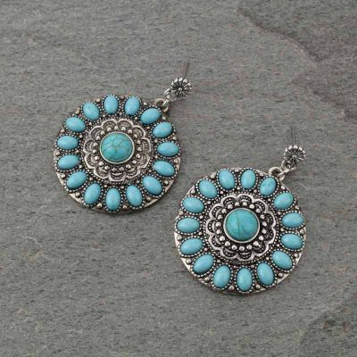 Round Navajo Turquoise Earrings
