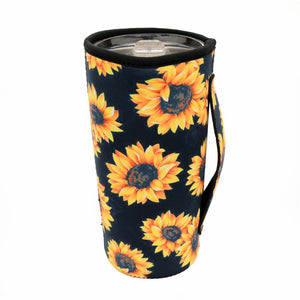 Black Sunflower Tumbler Drink Sleeve/Cooler