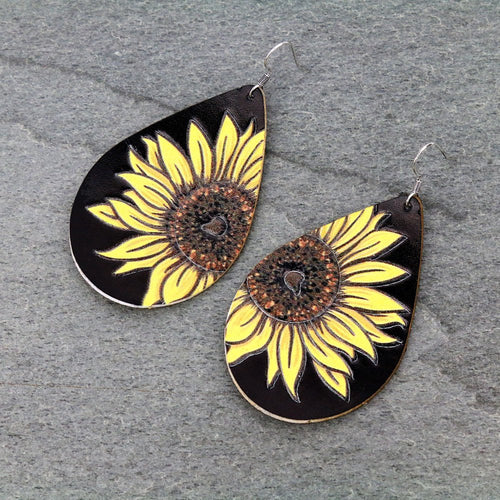 Sunflower Black Teardrop Leather Dangle Earrings