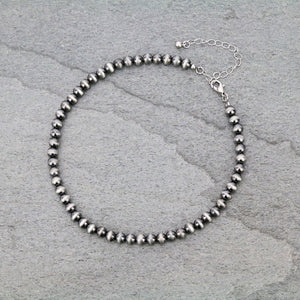 6mm Navajo Style Pearl Stone Choker Necklace