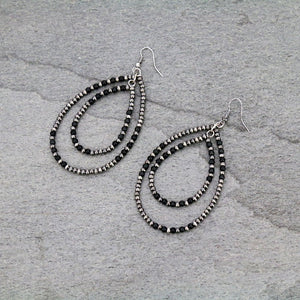 Navajo Bead with Semi Black Bead Dangle Earrings