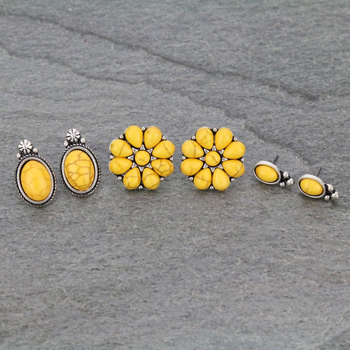 3 Pair Western Yellow Post Earrings Set